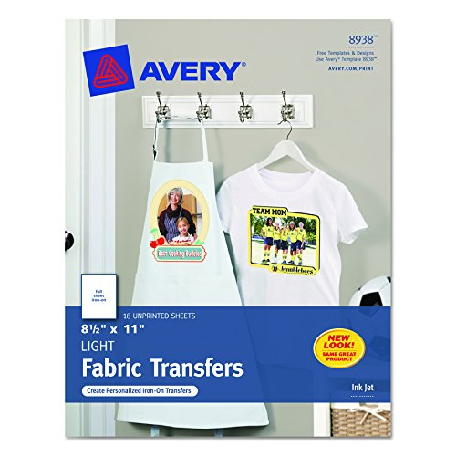 Avery T-shirt Transfers for Inkjet Printers for light-colored, 8.5 x 11 Inches, Pack of 18 (08938) (Iron Transfer Paper)