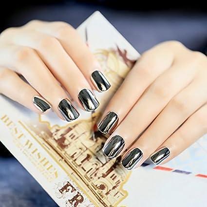 YUNAI uñas postizas - El Corto Tamaño gris plata metalizado clavo falso personalizada y fresco para