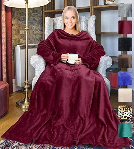 (Wearable Fleece Blanket with Sleeves for Adult Women Men, Super Soft Comfy Plush TV Blanket Throw Wrap Cover for Lounge Couch Reading Watching TV 73