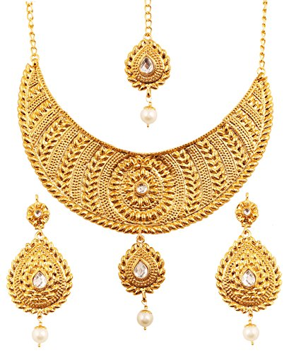 Touchstone Indian Bollywood Ethnic and Innovative Heavy Designer Jewelry Necklace Set Embellished with Faux Pearls Kundan Polki Jadau Stones for Women in Antique Gold Tone.