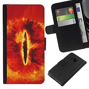 """A-type (Snake Eye"""") Colorida Impresión Funda Cuero Monedero Caja Bolsa Cubierta Caja Piel Card Slots Para HTC One M7"""