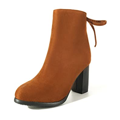 Suede Ankle Boots for WomenChunky Block Med Heels BootiesBlack/Tan Zip Lace-up