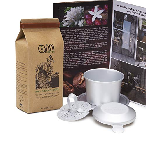 Aluminum Drip Coffee Maker - Combo of Anni Tradition Vietnamese ground coffee (7oz, high caffein) + Aluminum Phin filter coffee maker (strong taste)