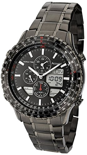 Accurist Men's Quartz Watch with Black Dial Chronograph Display and Grey Stainless Steel Bracelet MB1036BB