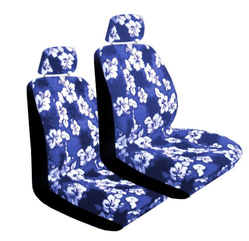 Set of 2 Universal Fit Hawaiian Low Back Front Bucket Seat Cover With Separate Headrest Cover for Seats - Blue Hawaii Hibiscus Floral Print