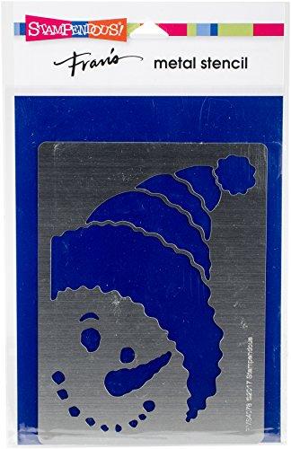 Stampendous FMS4078 Snowman Peeking Metal Stencil
