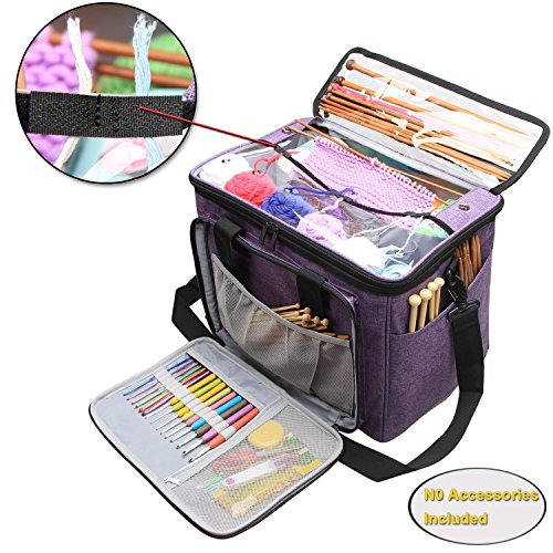 """Teamoy Knitting Bag, Yarn Tote Organizer with Inner Divider (Sewn to Bottom) for Crochet Hooks, Knitting Needles(up To 14""""), Project and Supplies, High Capacity, Easy to Carry-No Accessories (Elastic Guide)"""