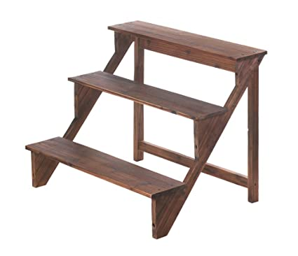 Amazoncom Wooden Steps Plant Stand Garden Outdoor