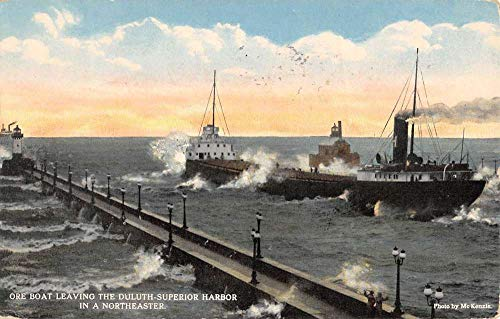 (Duluth Superior Harbor Minnesota Ore Boats Waterfront Antique Postcard K106184)