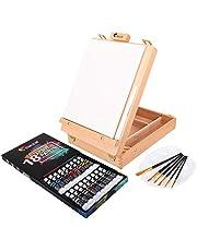 Zenacolor Complete Art Set met Case en Table Ease, 18 Buizen van Acrylverf, 6 Verfpenselen voor Kunstenaars - 24x30cm Canvas, Gratis Spatula - Het Perfecte Geschenk voor Kunstenaars van alle Niveaus