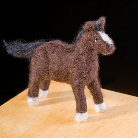 Pony Wool Needle Felting Craft Kit by WoolPets. Made in the USA. (Figurine Own Pony)