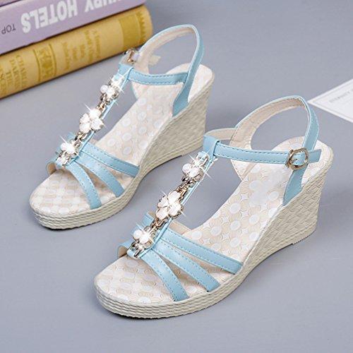 Cheville Talon Compensé Chaussures Ouvert Sandales Bout Bleu Haut Fleurs Femmes Sandale Bride Jitian Salomés pFnSRwqvxA