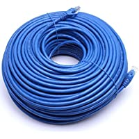 Fashion 200FT CAT6 RJ45 24AWG UTP Twist Pair Solid Network Ethernet LAN Cable - BLUE CA