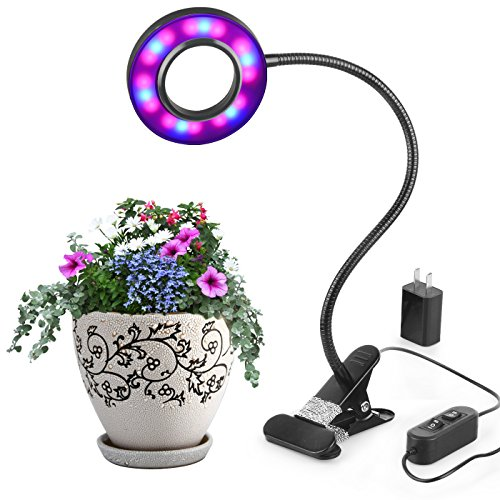Led Grow Light By Aokey Profession Plant Lamp for Indoor Plants | 10W Adjustable 6 Level Dimmable Clip Desk Lamp with 360°Flexible Gooseneck for Office,Home,Indoor Garden Greenhouse Organic Organizer