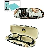 JAVOedge Cute Elephant Pattern Black Eyeglass / Reading Glass Hard Case and Bonus Microfiber Cleaning Cloth