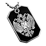 RUSSIAN IMPERIAL EAGLE ST.ANDREW CROSS RUSSIA FLAG PENDANT DOG TAG BALL CHAIN NECKLACE