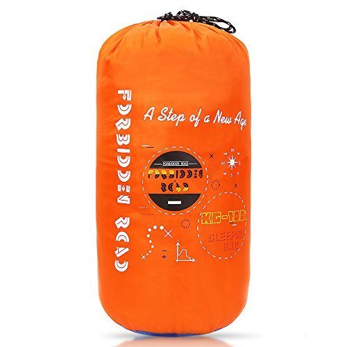 Forbidden Road 380T Nylon Portable Sleeping Bag Single 15℃/60℉ (5 Colors) Lightweight Water Resistent Envelope for Man Woman Camping, Hiking, Backpacking (Orange - Polyester, 15 ℃/60 ℉) (Nylon Roll Bag)