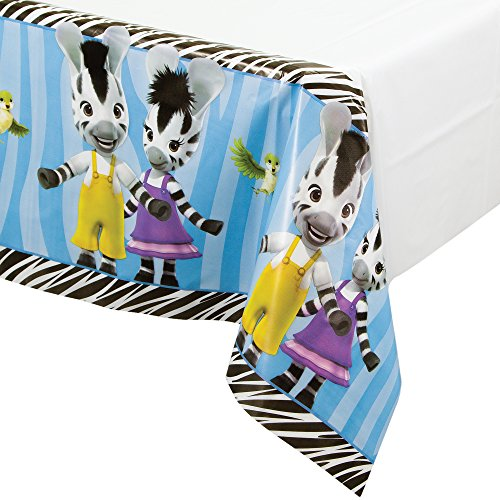 Border Print Plastic Table Cover, (Baby Safari Boy Collection)