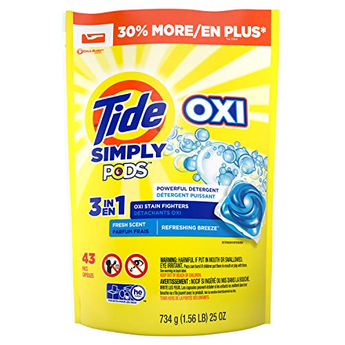 Tide Simply Clean & Fresh PODS Liquid Detergent Pacs, Refreshing Breeze Scent, 43 Count (Packaging May Vary) (Hard White Ball Under Skin On Balls)