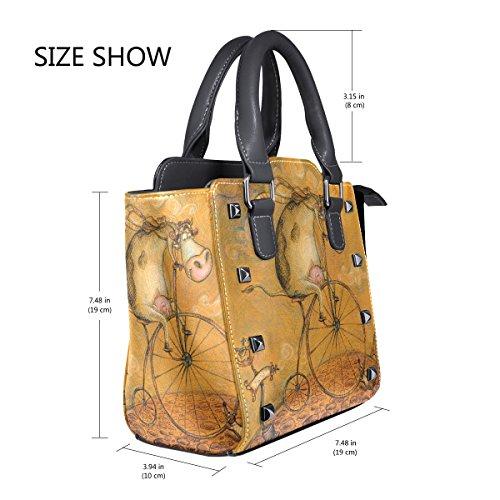 Leather on Tote Vintage Cow Bicycle Cute Shoulder Women's the Handbags TIZORAX Bags waT0n