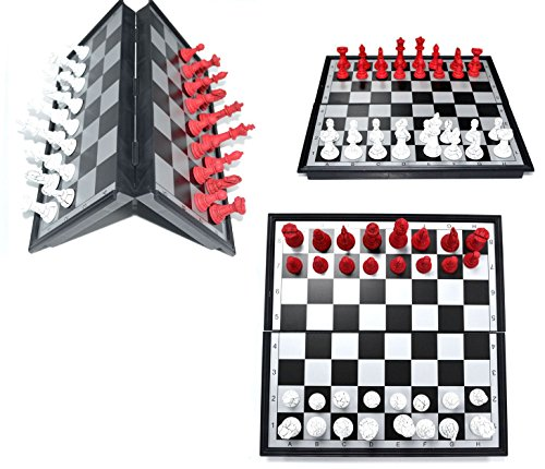 FANCY RED /& White COLOR PIECES WITH INSTRUCTION FOLDING MAGNETIC CHESS BOARD