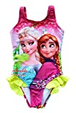 UK SELLER FREE DELIVERY Girls Swimwear Frozen Swimming Costume Elsa and Anna with Frill Swimsuit 3-9 Years (4-5 Years, Pink with Yellow Frill)