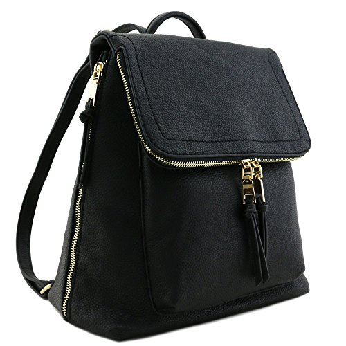Faux Leather Zip Flapover Backpack Black