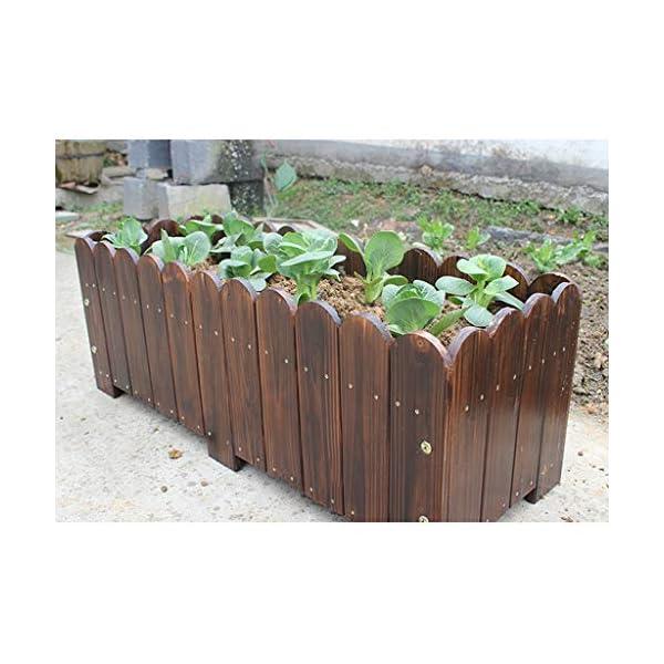 HEMFV Legno Planter Box, Forma for Il Giardino, Patio o Finestra Esterna Vaso di Fiori di impianto di Sicurezza 4 spesavip