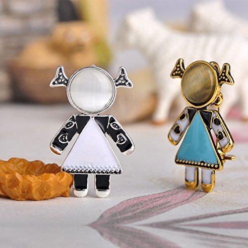 MECHOSEN New Little Girl Shape Brooches Sky Blue Enamel Brooch Pins For Women Girl Party Accessories by MECHOSEN (Image #5)