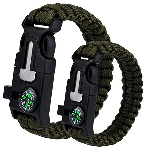 Survival Bracelet 2PCS, Outdoor Survival Paracord Bracelet Kit with Compass, Whistle, Knife, Flint Fire Starter for Camping Hiking Fishing Running