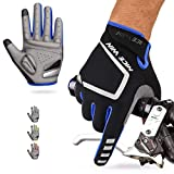 Cycling Gloves Motorcycle Bike Mountain-Padded Road Bicycle Men Women Antiskid Touch Screen Blue L