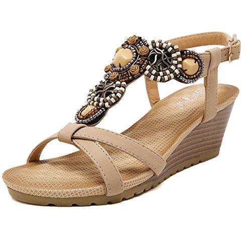 KHSKX-Beige 6Cm Playa Zapatos De Tacón Alto De Pendiente Con Sandalias De Verano Femenina De Perforación De Agua Gruesa Bordada Pasador Calzado Mujer Marea 36