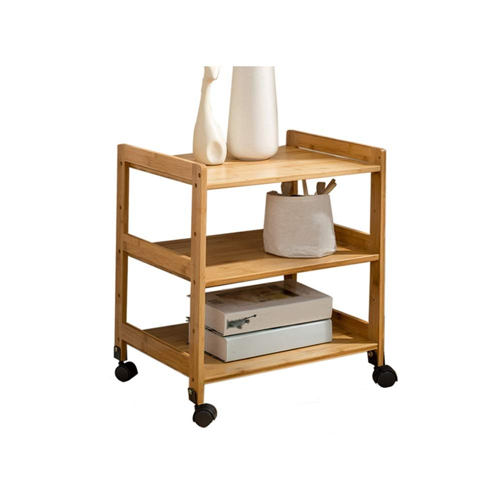 LJHA bianzhuo End Table, Bamboo Mobile Cart for Home Office Living Room Coffee Sofa Bedside Coffee Table Laptop Side Table, 3-Layer Belt Pulley Bedside Tables (Size : 38x35x55cm) by GYH End Table