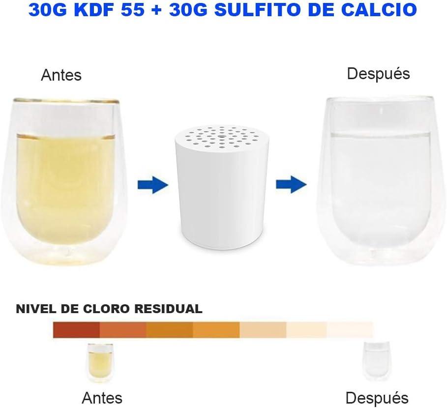 Metales Pesados para Cualquier Ducha Reduce Cloro Elimina Irritantes ALISTAR 15 Etapas Cartucho del Filtro Ducha Universal