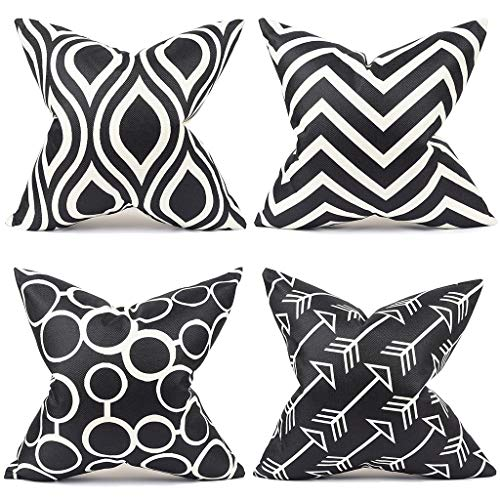 Master Pillowcase Durable Cotton Linen Decorative Throw Pillow Cover Square Cushion Case Pillowcover for Couch 18 x 18 Inch Set of 4 (Black) ()