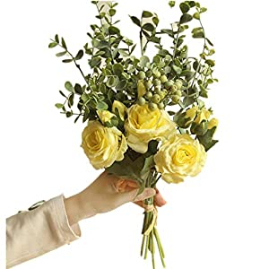 COLOV Rose Bouquet Wedding Bouquet Artificial Flower Decoration Party Home(Yellow 18.11) 21