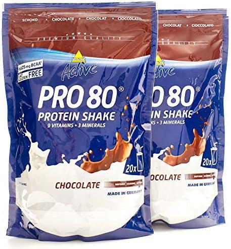 Atlant Vital Set aus Inkospor Active Pro 80 Protein Shake Eiweißpulver 2x 500g + 2Proteinriegel und AV Massband (Vanille/Schoko)