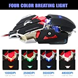 Combaterwing 4800 DPI Optical USB Wired Professional Gaming Mouse Programmable 10 Buttons RGB Breathing LED Mice (Black)