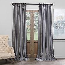 Half Price Drapes PDCH-KBS7BO-96 Blackout Vintage Textured Faux Dupioni Curtain, Storm Grey, 50 X 96