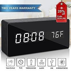 Alarm Clock, Digital Clock Wooden Desk Alarm Clock with Three Alarm Sets & Date LED Display & 3 Levels Brightness & Temperature Brightness Dimmer for Home Bedroom Office Desk