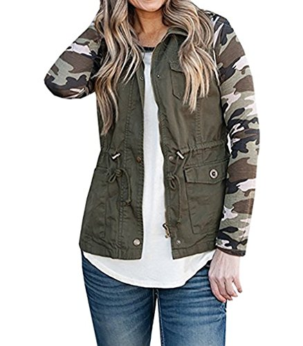 Ruanyu Women's Sleeveless Lightweight Military Stretchy Drawstring Jacket Vest with Zipper (Army Green, Small) by Ruanyu (Image #2)