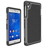 Sony Xperia Z3 Case, Shockproof Scratch Resistant and Anti Slipping Hybird Rubber Plastic and Silicone Dual Layer Rugged Defender Phone Case for Sony Xperia Z3 (Gray)