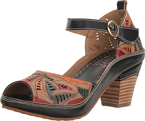 L'ARTISTE Women's Avelle Black Multi Leathersandals 9 B(M) (Spring Step Womens Star)