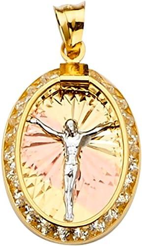 GoldenMine 14k Tri Color Gold Jesus Medal Pendant Size : 23 x 15 mm