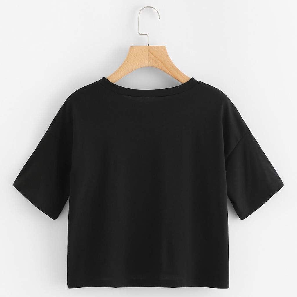 FRAUIT Camiseta De Cuello Redondo para Mujer Blusa De Manga Corta ...