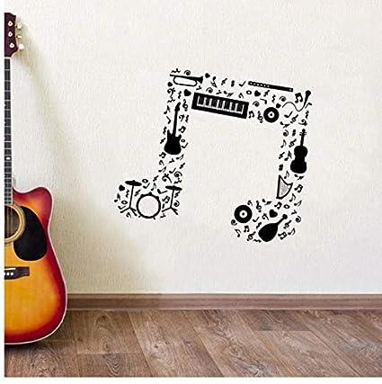 Mhdxmp Nota Musical Etiqueta De La Pared Guitarra Saxofón Flauta Batería Orquesta Tatuajes De Pared Nuevo