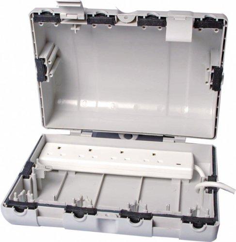 Schutzbox, zum Gebrauch mit 4-Steckdosen-Leiste, für den Außenbereich, wasserdicht