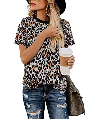 - Women T Shirts Short Sleeve Funny Animal Print Tops Summer Blouses Dressy Tops Leopard02 XL