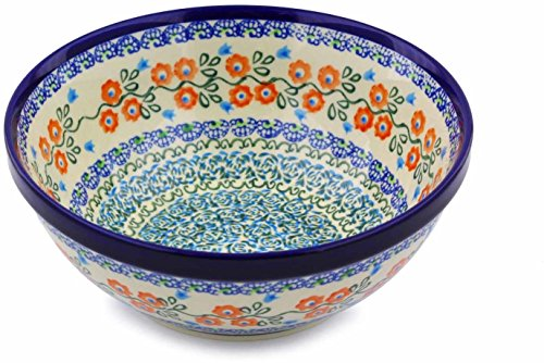 Polish Pottery Bowl 8-inch (Tulip Vines Theme) + Certificate of Authenticity ()
