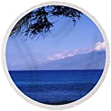 Pixels Round Beach Towel With Tassels featuring ''Tree At A Coast, Kapalua, Molokai'' by Pixels